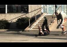 Slow motion skateboarding slams / bails / falls.